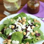 Spinach Feta Walnut Raisin and Chickpea Make it Quick Salad